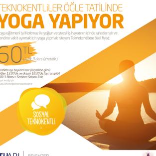 Teknokentliler öğle tatillerinde yoga yaparak rahatlıyor!